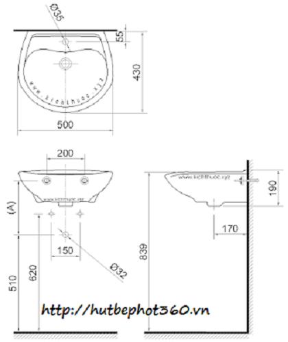 Những tiêu chuẩn kích thước lắp đặt chậu rửa mặt